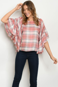 S11-17-5-T3113 PEACH CHECKERED TOP 2-2-2