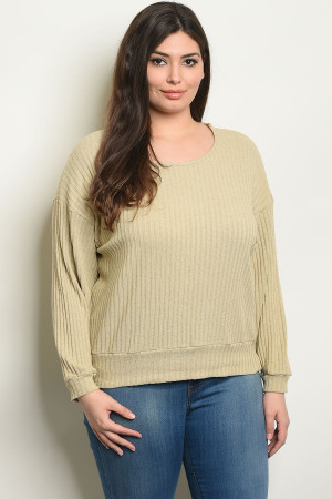 C94-A-5-T3442X TAUPE PLUS SIZE TOP 3-2-1