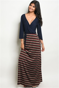 C30-A-1-D11429A NAVY WINE PRINT DRESS 2-3-3