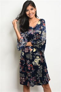 C46-A-2-D12845 NAVY FLORAL SWAY DRESS 2-2-2
