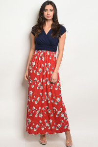 C46-A-5-D9975C NAVY RUST FLORAL DRESS 2-2-2