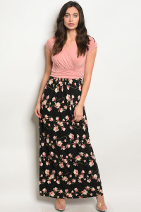 C44-A-3-D9975C BLUSH BLACK FLORAL DRESS 2-2-2