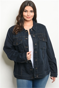 S13-2-2-J6181X DARK BLUE DENIM PLUS SIZE JACKET 2-3-1
