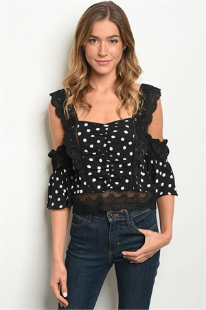 S8-12-1-T27287 BLACK WHITE DOTS TOP 2-2-2
