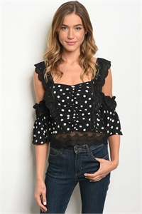 S15-9-4-T27287 BLACK WHITE DOTS TOP 2-1-1