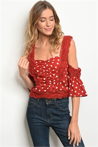 S8-12-4-T27287 BURGUNDY WHITE DOTS TOP 2-2-2
