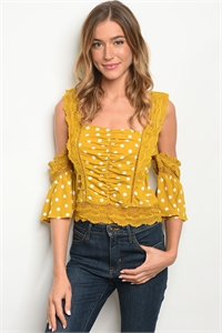 S15-9-4-T27287 MUSTARD WHITE DOTS TOP 2-1-1