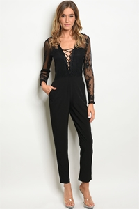 S15-9-4-J50343 BLACK LACE LACE JUMPSUIT 3-2-2