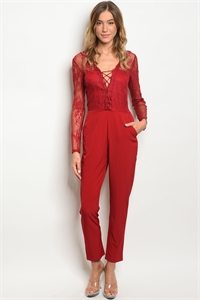 S8-12-1-J50343 RED LACE LACE JUMPSUIT 2-2-2