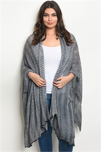 S11-16-4-C20686X NAVY WHITE PLUS SIZE CARDIGAN 2-2-2