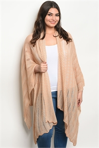 S11-16-4-C20686X TAUPE CREAM PLUS SIZE CARDIGAN 2-2-2