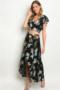 SA4-7-2-SET67026 BLACK W/ FLOWERS TOP & SKIRT SET 2-2-2