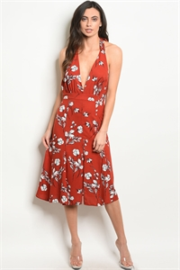 S12-1-2-D32393 EARTH FLORAL DRESS 4-2-1