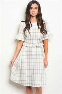 S11-6-2-D1743 IVORY CHECKERS DRESS 3-2-1