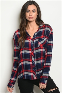 121-3-1-T51762 NAVY RED CHECKERS TOP 1-4-2
