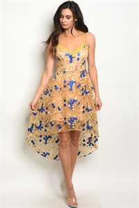 S11-20-5-D2984 GOLD W/ FLOWERS EMBROIDERY DRESS 2-2-2