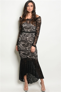 S11-19-5-D1457 BLACK NUDE DRESS 2-2-2