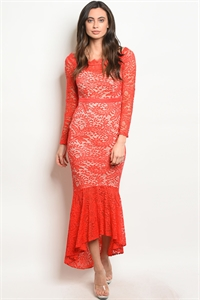 S11-11-2-D1457 RED NUDE DRESS 2-2-2