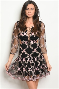 114-2-4-D1351 BLACK WITH FLOWER EMBROIDERY DRESS 2-2-2