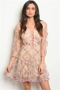 114-4-1-D1351 TAN WITH FLOWER EMBROIDERY DRESS 2-2-2