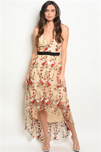 S14-7-4-D2532 NUDE WITH FLOWER EMBROIDERY DRESS 2-2-2
