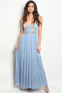 S18-13-2-D2164 BLUE WITH FLOWER EMBROIDERY DRESS 3-2-3