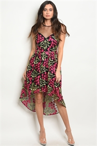 S14-10-2-D2516 BLACK WITH FLOWER EMBROIDERY DRESS 2-2-2