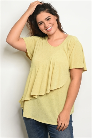 C41-A-4-T13116X YELLOW PLUS SIZE TOP 2-2-2