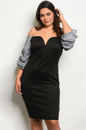 S13-3-1-D12974X BLACK WHITE PLAID PLUS SIZE DRESS 2-2-2