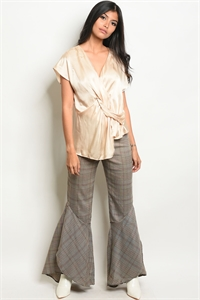 S20-5-5-P15929 TAUPE CHECKERED PANTS 3-2-1