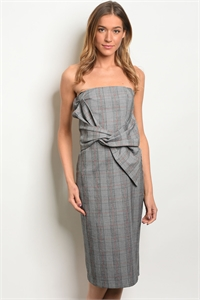 S18-10-2-D16285 GRAY RED CHECKERED DRESS 3-2-1