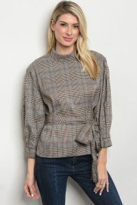 S16-3-2-T16003 TAUPE CHECKERED TOP 3-2-1