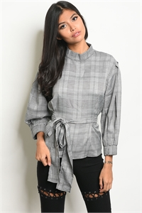 133-3-1-T16003 GRAY CHECKERED TOP 3-2-1