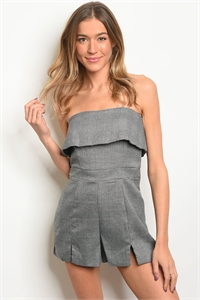 S19-11-4-R16283 GRAY CHECKERED ROMPER 3-2-1