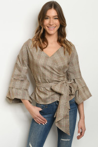 S14-11-4-T15506 TAUPE CHECKERED TOP 3-2-1