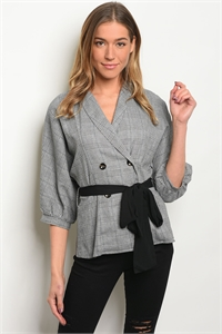 S15-3-4-T16303 GRAY CHECKERED TOP 3-2-1
