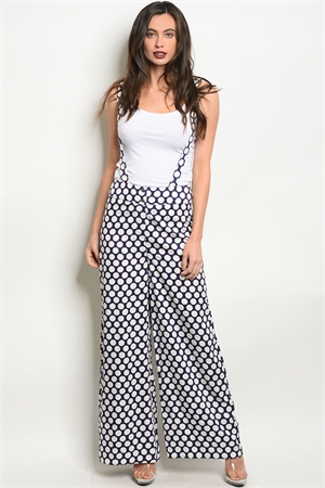 S13-6-4-OP70800 NAVY WHITE WITH DOTS OVERALL PANTS 2-2-2