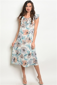 S10-1-5-NA-D14233 CREAM FLORAL DRESS 2-2-2