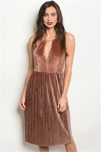 S17-11-5-NA-D23986 BROWN VELVET DRESS 2-2-2