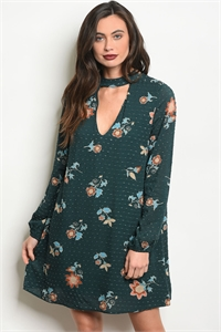 S13-5-1-NA-D24231 GREEN FLORAL DRESS 2-2-2
