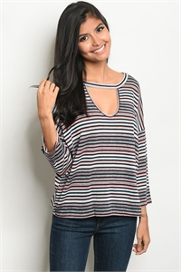 C14-B-5-T1585 NAVY MULTI STRIPES TOP 2-2-2