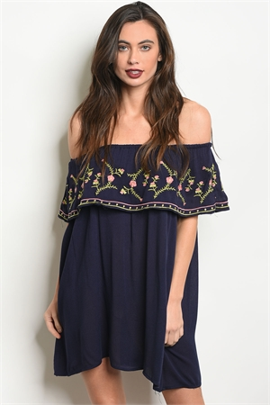 S17-5-2-NA-D14720 NAVY WITH FLOWER EMBROIDERY DRESS 1-1-1