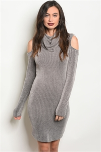 C40-A-1-D7521 GRAY BLACK STRIPES DRESS 1-2-1