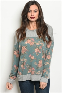 C33-A-2-T8138 GRAY GREEN FLORAL TOP 2-2-2