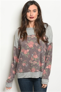 C27-A-2-T8138 GRAY BURGUNDY FLORAL TOP 2-2-2