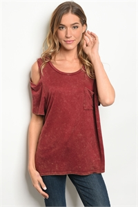 C68-B-5-T67292GD MARRON TIE DYE TOP 2-2-2