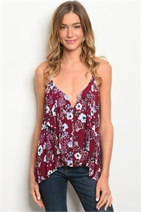 S16-8-2-T167808 BERRY FLORAL TOP 1-2-2-1