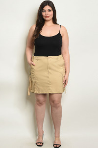 S13-3-3-S12192AX KHAKI PLUS SIZE SKIRT 2-2-2