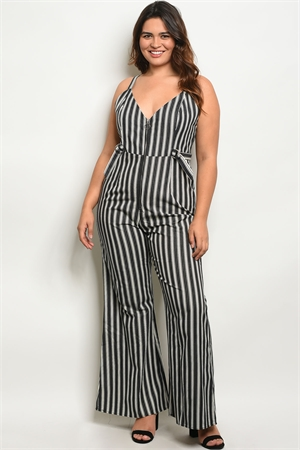 S14-3-2-J1223X BLACK IVORY PLUS SIZE JUMPSUIT 2-2-2
