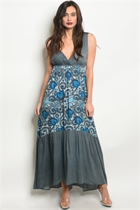 136-2-2-D14460 OFF WHITE BLUE DRESS 3-1-1